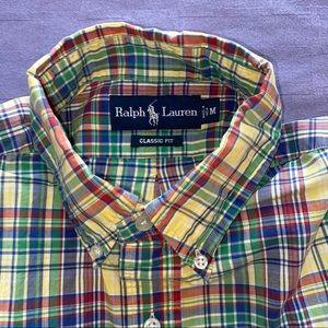 Ralph Lauren M Madras plaid s/s Button down shirt